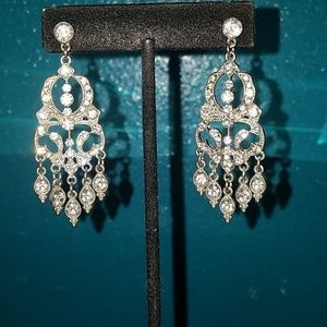 Antique Style Clear Crystal Chandelier Earrings